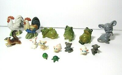 $14.95 • Buy Mixed Lot 15 Miniature Animals Frogs  Roosters Mouse Kittens Squirrel Turtles