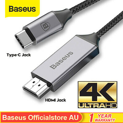AU32.99 • Buy Baseus USB C To HDMI Cable Type C 4K HD Projector Adapter For TV Macbook Samsung