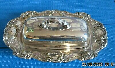 Silver-plated Butter Dish Clear Glass Insert With Ornate Trim,9.5'' Long • 5£