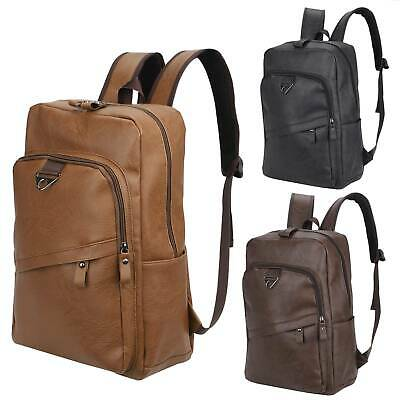 Men Laptop Backpack Leather Travel School Bag Shoulder Handbag Business Rucksack • 12.99£