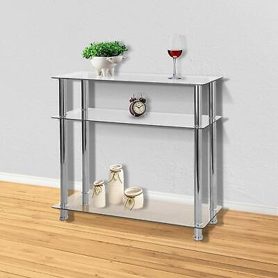 New Glass Console Table Clear Glass Chrome Legs 3 Tier Modern Hallway Table UK • 49.99£
