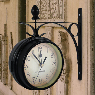 AU36.99 • Buy Double Side Wall Clock Outdoor Garden Central Station Mounted With Bracket Retro