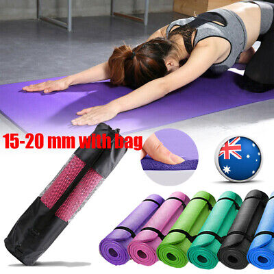 AU36.68 • Buy AU TPE 15-20 MM Thick Yoga Mat With Bag Exercise Pilate Gym Nonslip Pad Eco NBR