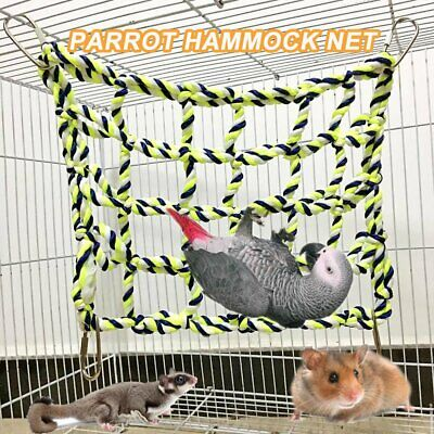 Pet Bird Parrot Hamster Cage Rope Ladder Net Hammock Swing Hanging Perch Toys @I • 4.69£