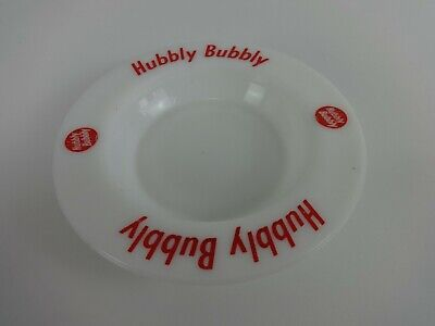 Hubbly Bubbly Vintage Ashtray Dish White Frosted Glass Red Decal Wade RegiCor  • 11.99£