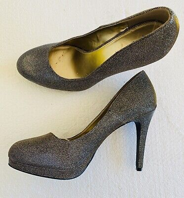 Large Size Ladies Pewter/Gold/Silver Wrapped Shimmer Shoes Size UK 10 PLUS SIZE  • 29.99£