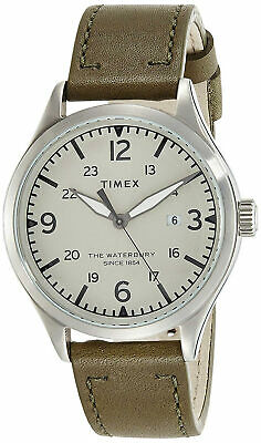 $59.95 • Buy Timex TW2R71100 Waterbury Men's Analog Round Steel Watch Green Leather Strap