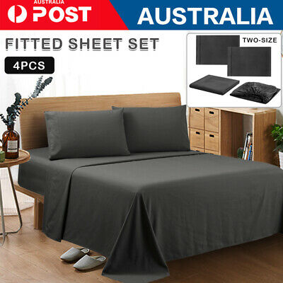 AU28.99 • Buy 4 Pieces Bed Sheet Set Queen/King/Double/Single Breathable Brushed Microfiber