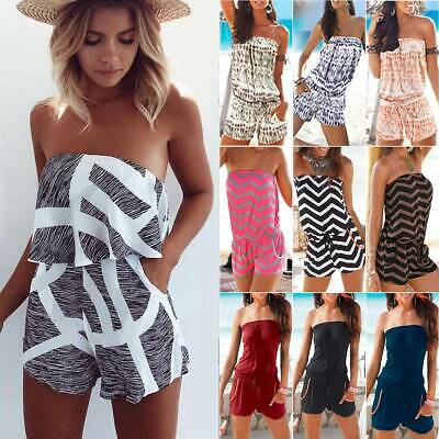 Womens Strapless Bandeau Mini Playsuit Jumpsuit Summer Beach Rompers Short Dress • 11.29£