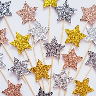 12 X GLITTER GOLD SILVER STARS Cupcake Toppers Picks Cake Decoration • 2.45£
