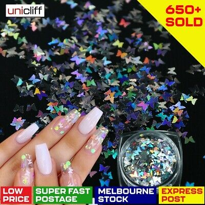 AU6.89 • Buy Butterfly Nail Flakes Glitter Sequins Holographic 3D Sparkle Slice Mirror Art