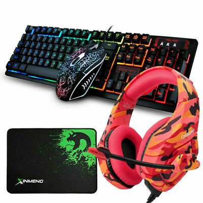 AU72.99 • Buy AU 4in1 Combo Gaming Keyboard And Mouse + Headset LED Backlight For PC PS4 Xbox