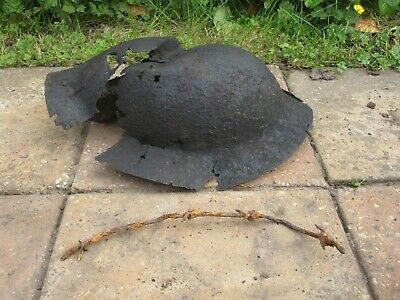 WW1 BRITISH HELMET BATTLE DAMAGE SOMME Relic • 24.99£