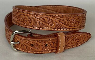 $12.99 • Buy GENUINE LEATHER BELTS Youth Size 20 Brown Western Floral Design 1  Wide NWOT!