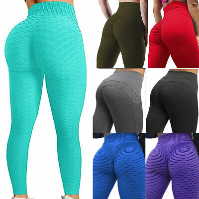 Womens Anti-Cellulite Yoga Pants Leggings Push Up Ruched Sports Gym Trousers CY3 • 11.98£