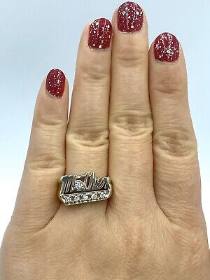 """$0.99 • Buy Solid 14k White Gold """"Mother"""" .25tcw Natural Diamond Ring 6.7 Grams NR!"""