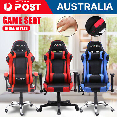 AU132.89 • Buy 2020 Gaming Office Chair Racing Executive Footrest Computer Seat PU Leather NEW
