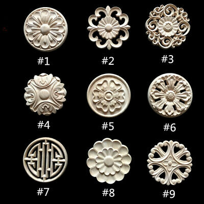 $3.21 • Buy Round Wood Carved Applique Frame Onlay Cabinet Furniture Decoration Unpainted