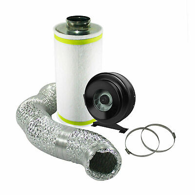6  Hydroponic Grow Room Ventilation Kit Inline Fan Carbon Filter Ducting Extract • 74.50£