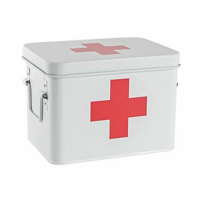 AU30.95 • Buy Vintage First Aid Storage Canister Metal Square Box Airtight Seal White