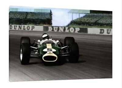 £43.95 • Buy 1967 Jim Clark 30x20 Inch Canvas - Lotus 49 Framed Picture F1 Brands Hatch