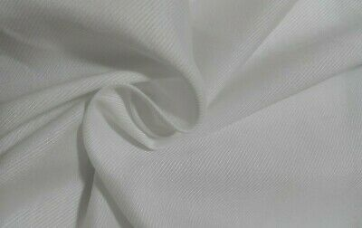 Thin Diagonal Lined White Cotton / Viscose Fabric - Sold By The Metre • 2.59£
