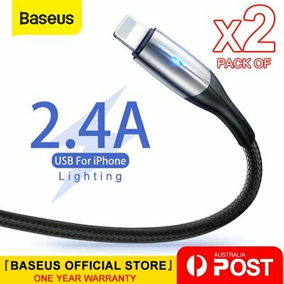 AU7.99 • Buy 2X Baseus Lighting Cable Fast Charging Charger Cord For IPhone 13 12 11 XS XR X