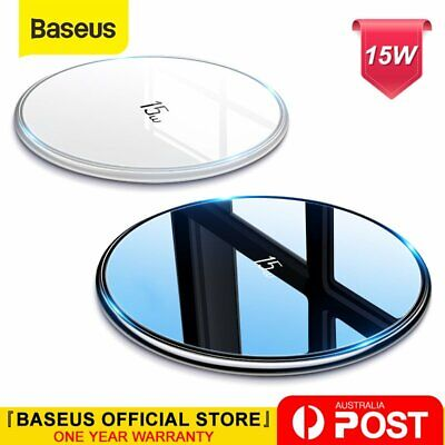 AU23.74 • Buy Baseus 15W Qi Wireless Charger Fast Charge Mat Pad For Airpods IPhone 12 Samsung