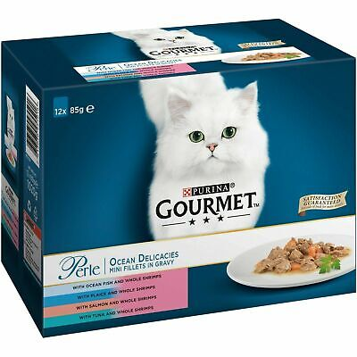 Gourmet Perle Ocean Delicacies Cat Wet Food 4 Flavours - BOX OF 12 • 8.99£