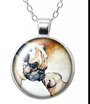 £5.99 • Buy Pug Dog Mum And Puppy Art Pendant Necklace Womens Jewellery Gift
