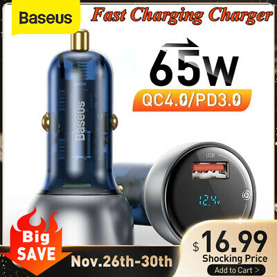 AU26.99 • Buy Baseus 65W Car Charger QC4.0 Quick Charge USB Type C Adapter For IPhone MacBook