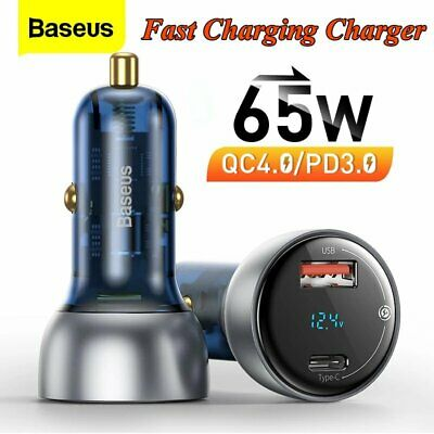 AU31.99 • Buy Baseus 65W Car Charger QC4.0 Quick Charge USB Type C Adapter For IPhone MacBook