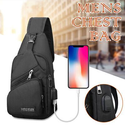 AU20.50 • Buy Mens Chest Bag Small Shoulder Backpack Man Sling Cross Body Satchel Bag Black