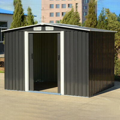 £399.95 • Buy 8 X 6 Outdoor Storage Metal Garden Shed Anthracite Galvanized Plate + Steel Base