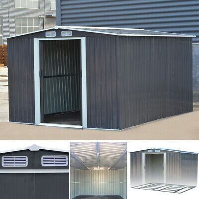 10x 8 Ft Apex Heavy-Duty Garden House Tool Shed Outdoor Metal Storage Equipments • 439.95£