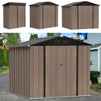 Pent Outdoor Steel Garden Storage Shed Metal Roof Sheds Brown 6x4, 8x6ft, 5x3 Ft • 269.95£
