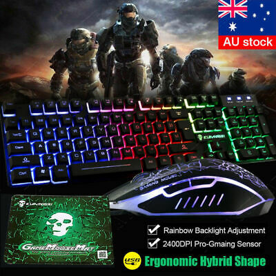 AU18.99 • Buy T6 Rainbow Wired Gaming Keyboard 2400DPI Mouse Mouse Pad Illuminated Backlit Set