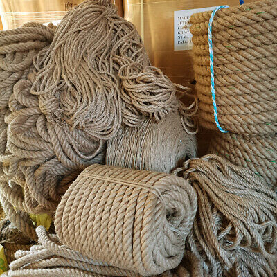 Braided Twisted 6mm-40mm Natural Jute Hessian Rope Decking Garden Sash Rope Cord • 59.95£