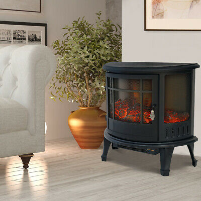 £139.95 • Buy Panoramic Effect Electric Fireplace Heater LED Flame 1800W Fire Log Burner Stove