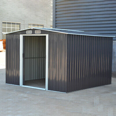 Metal Shed 8 X 8 FT Deep Grey Apex Garden Shed Outdoor Storage Cabinet Toolsheds • 405.95£