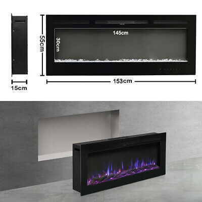 £319.95 • Buy 60  Electric Fireplace Insert 1520mm Wide Freestanding Fire Wall Recessed Heater