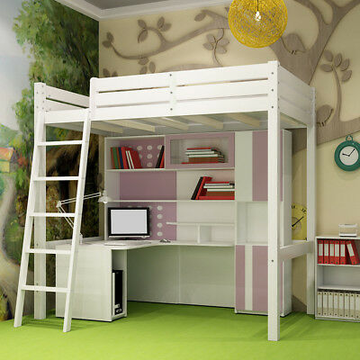 High Sleeper Cabin Wooden Pine White Kids Bunk Bed Single 3ft W/ Ladder Bedroom • 189.95£