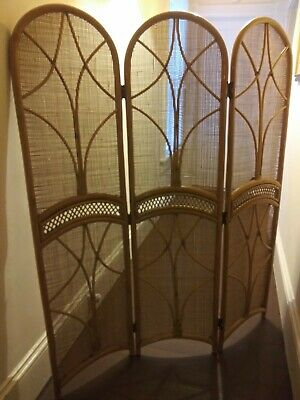 $99 • Buy Rattan Bamboo Wicker Privacy Screen/Room Divider 3-Panel Folding. Arch Top. VTG