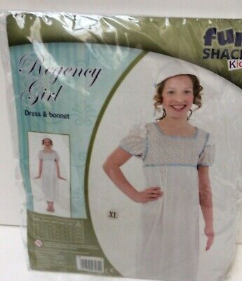 Regency Girl Dress And Bonnet Costume Age 10/12yrs New Packaged(850D51) • 5£