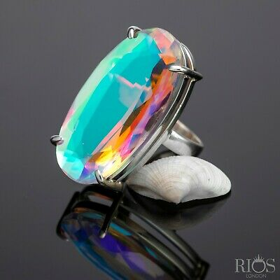 Chunky 925 Sterling Silver Mercury Mystic Topaz Facet Cut Bling Gemstone Gift • 33.99£