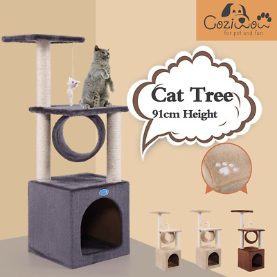 AU39.99 • Buy 91cm Cat Tree Scratching Post Pole Tower Condo Kitty Activity Center Bed Stand