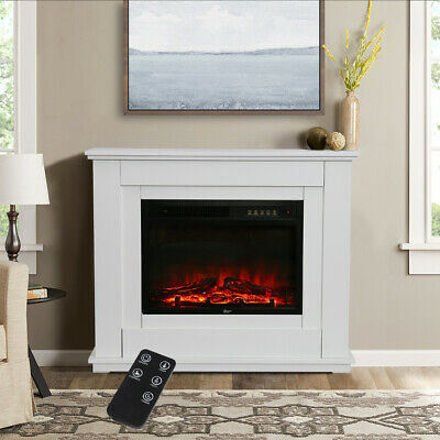 Electric Fire White Surround Wall Fireplace Suit 30inch Freestanding With Remote • 209.95£