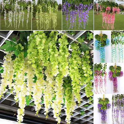 £9.95 • Buy 12x Artificial Fake Wisteria Vine Garland Hanging Silk Flower Home Party Wedding
