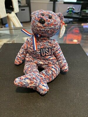 $200 • Buy NWT RARE Ty USA Bear Collectible 2000 Beanie Baby Red White Blue With Errors