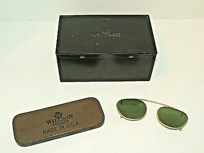 $12.95 • Buy Vintage Wire Rim Willson Green Sunglasses Clip On + 2 Metal Cases, Patent Dates